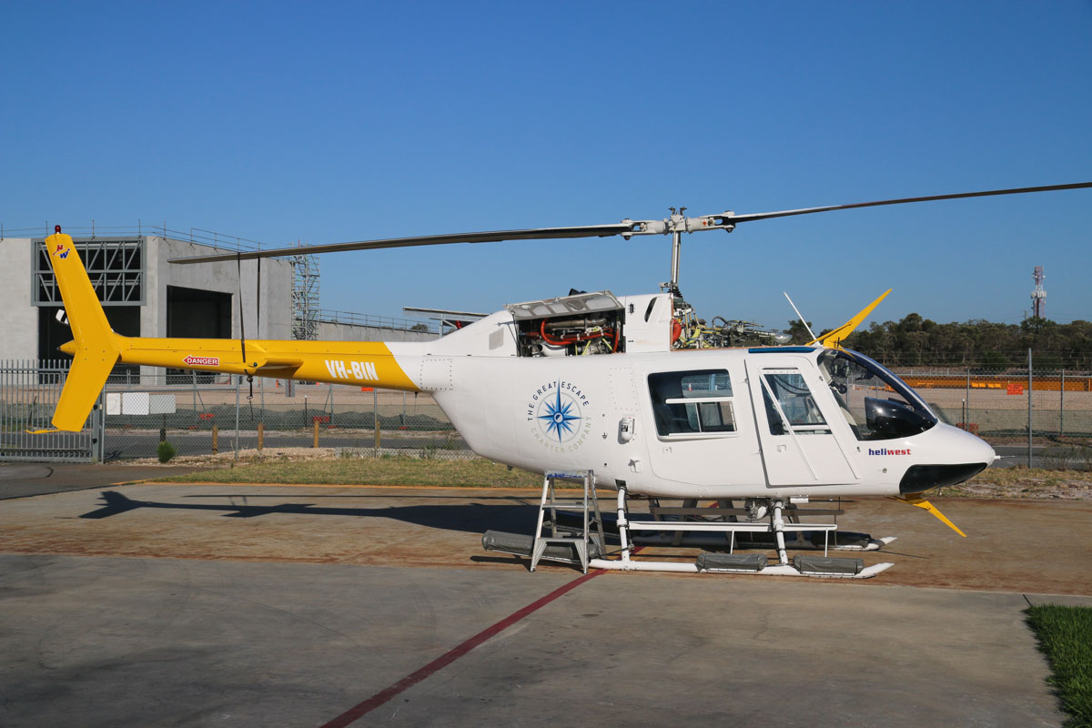 VH-BIN Bell 206B JetRanger II (MSN 2019) of HeliWest, with The Great Escape Charter Company titles, at Jandakot Airport - Sat 21 March 2015. Built in 1976, ex N9951K, VH-KHB, VH-UEE. Previously on contract to Surf Life Saving WA as a beach patrol helicopter. Photo © David Eyre