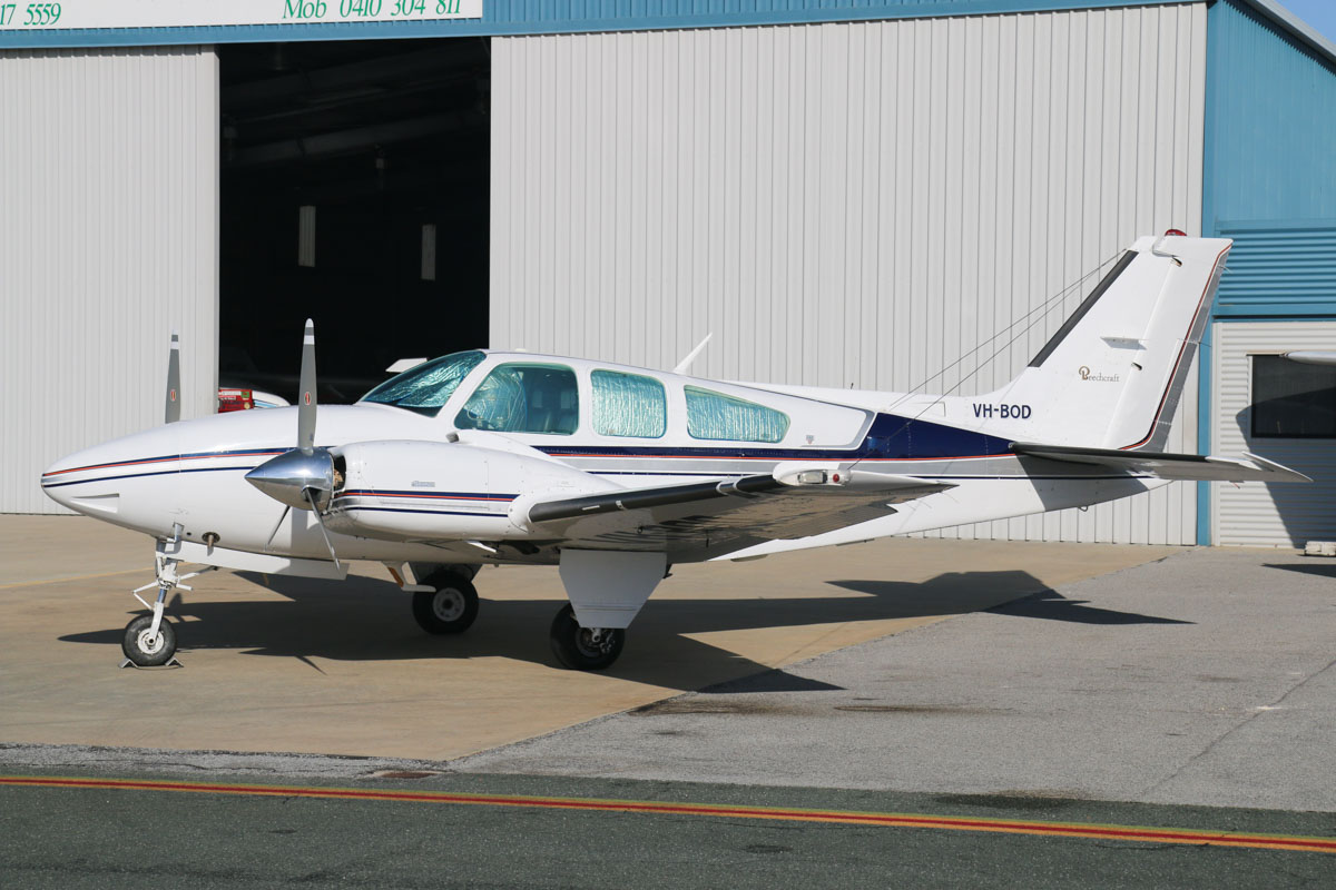 VH-BOD Beech Baron E55 (MSN TE-1158) owned by Baron E55 Pty Ltd, Bunbury, WA, at Jandakot Airport - Sat 21 March 2015. Built in 1979, ex N2072M. Photo © David Eyre