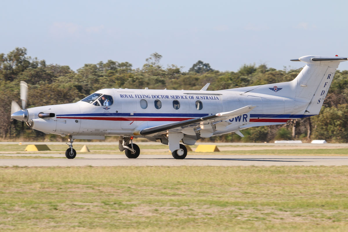 VH-OWR Pilatus PC-12/47E (MSN 1082) of the Royal Flying Doctor Service (Western Operations), at Jandakot Airport - Sat 21 March 2015. Taking off from runway 06L at 9:07am for a flight to Carnarvon and back. Photo © David Eyre