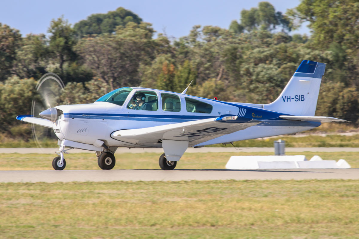 VH-SIB Beech Bonanza F33A (MSN CE-1675) owned by Ian L.D. Belyea, of Broome, WA, at Jandakot Airport - Sat 21 March 2015. Built in 1992, ex N55626. Originally owned by Singapore Flying College, this aircraft was previously based atVH-SIB Beech Bonanza F33A (MSN CE-1675) owned by Ian L.D. Belyea, of Broome, WA, at Jandakot Airport - Sat 21 March 2015. Built in 1992, ex N55626. Originally owned by Singapore Flying College, this aircraft was previously based at Jandakot. Photo © David Eyre Jandakot. Photo © David Eyre