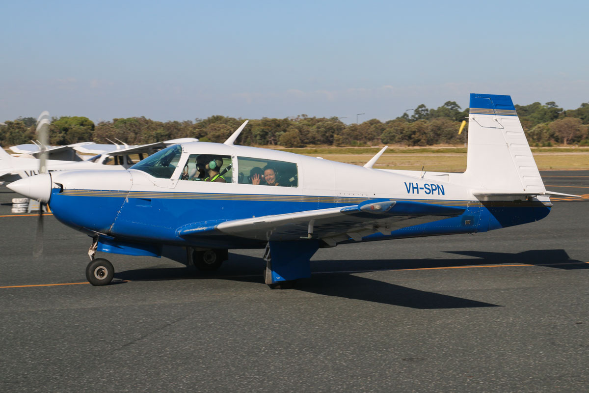 VH-SPN Mooney M20J 201 (MSN 24-0878) owned by the Royal Aero Club of Western Australia Inc, at Jandakot Airport - Sat 21 March 2015. Built in 1980, ex ZK-LAM N4788H. Photo © David Eyre