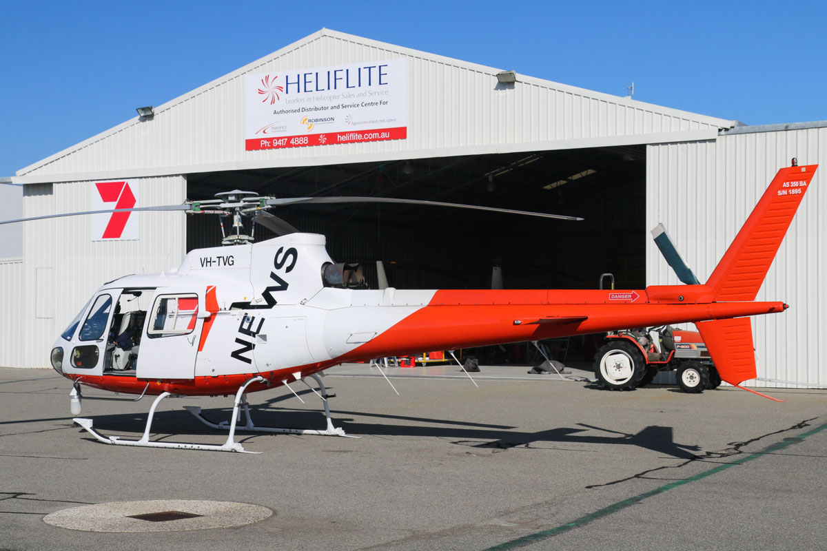 VH-TVG Eurocopter AS350BA Squirrel (MSN 1895) owned by Channel Seven Perth Pty Ltd, at Jandakot Airport - Sat 21 March 2015. Channel Seven moved to new TV studios in Osborne Park on 2 March 2015 and as a result, they no longer need the helipad in Dianella, so their news helicopter is now house with Heliflite at Jandakot. Photo © David Eyre.
