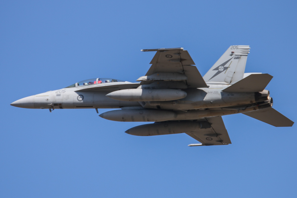 A44-205 Boeing F/A-18F Super Hornet (MSN AF-5, ex 167961) of 1 Squadron, RAAF at RAAF Base Pearce - Wed 1 April 2015. One of six Super Hornets returning home to RAAF Base Amberley in Queensland after completing seven months of air-strike operations against Islamic State militants in Iraq since September 2014. A44-205 has 22 combat mission markings painted on its nose. Photo © David Eyre