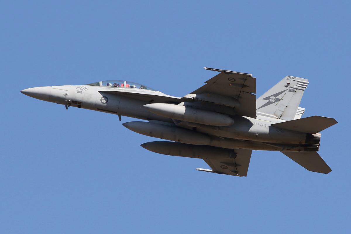 A44-205 Boeing F/A-18F Super Hornet (MSN AF-5, ex 167961) of 1 Squadron, RAAF at RAAF Base Pearce - Wed 1 April 2015. One of six Super Hornets returning home to RAAF Base Amberley in Queensland after completing seven months of air-strike operations against Islamic State militants in Iraq since September 2014. A44-205 has 22 combat mission markings painted on its nose. Photo © Matt Hannigan