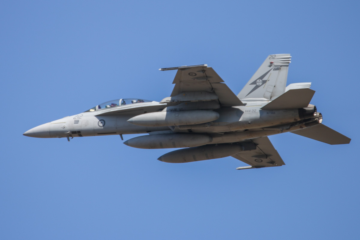 A44-212 Boeing F/A-18F Super Hornet (MSN AF-12, ex 167968) of 1 Squadron, RAAF at RAAF Base Pearce - Wed 1 April 2015. One of six Super Hornets returning home to RAAF Base Amberley in Queensland after completing seven months of air-strike operations against Islamic State militants in Iraq since September 2014. A44-212 has 32 combat mission markings painted on its nose. Photo © David Eyre