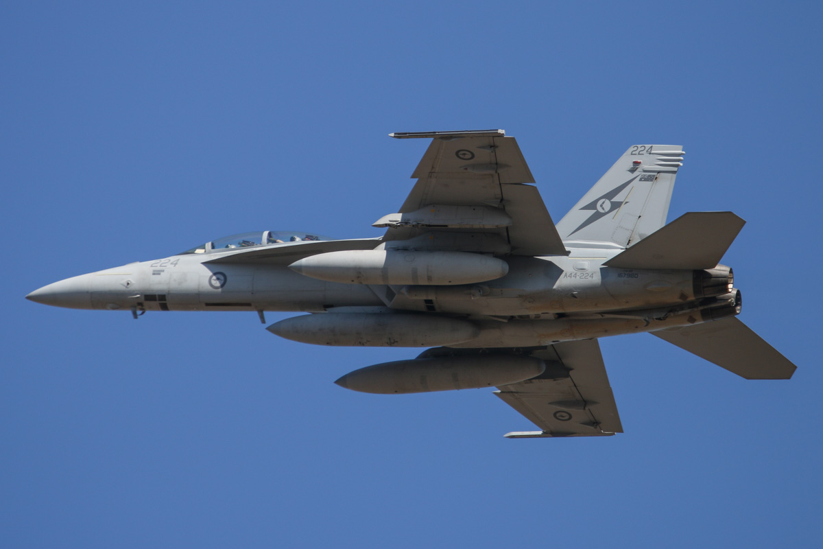 A44-224 Boeing F/A-18F Super Hornet (MSN AF-24, ex 167980) of 1 Squadron, RAAF at RAAF Base Pearce - Wed 1 April 2015. One of six Super Hornets returning home to RAAF Base Amberley in Queensland after completing seven months of air-strike operations against Islamic State militants in Iraq since September 2014. A44-224 has 19 combat mission markings painted on its nose, and it is also one of 12 Super Hornets wired for potential conversion to EA-18G Growler electronic attack aircraft. Photo © David Eyre