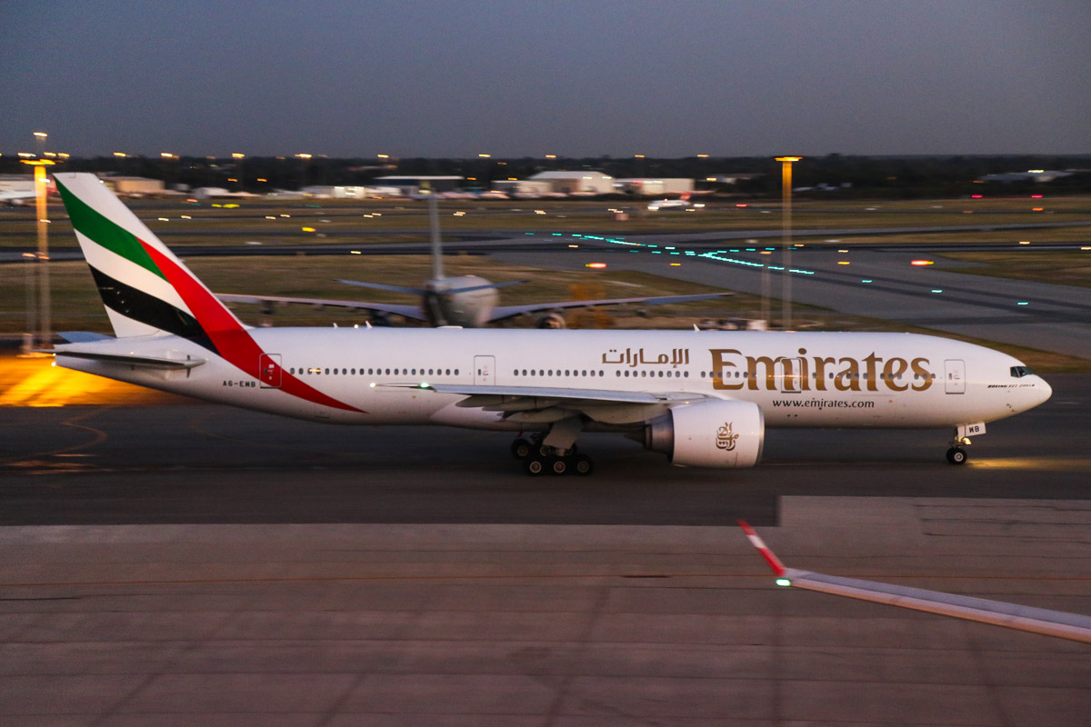 A6-EWB Boeing 777-21H LR (MSN 35573/662) of Emirates, at Perth Airport - Wed 1 April 2015. Flight EK425 to Dubai, taxying out to runway 21 at 6:10am for departure. Photo © David Eyre