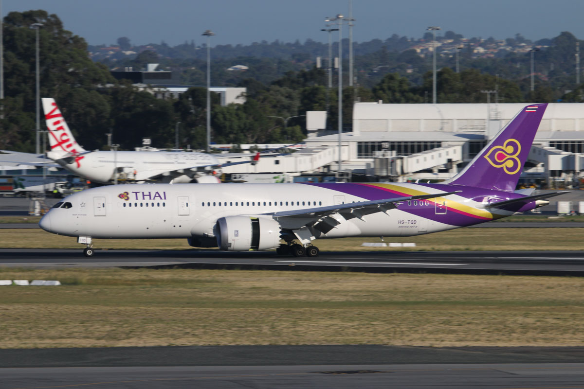 HS-TQD Boeing 787-8 DreamLiner (MSN 35320/244), named 'Wapi Pathum', of Thai Airways International, at Perth Airport – Wed 1 April 2015. Landing on runway 21 at 7:51am, arriving from Bangkok as flight TG483. Photo © David Eyre