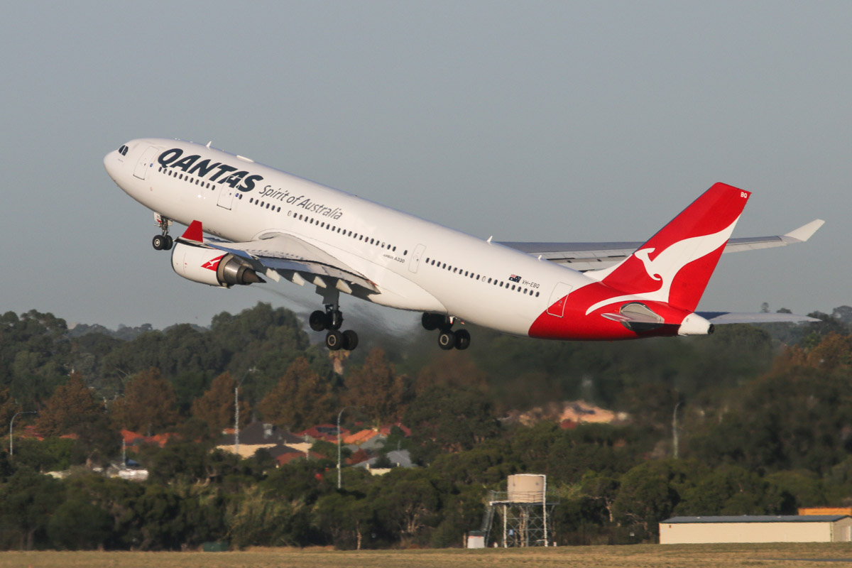 VH-EBQ Airbus A330-202 (MSN 1198) of Qantas, named 'Wolgan Valley', at Perth Airport – Wed 1 April 2015. Flight QF576 to Sydney, taking off runway 21 at 7:30am. Photo © David Eyre