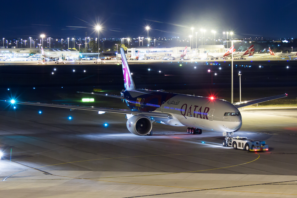 A7-BAE Boeing 777-3DZER (MSN 36104/769) of Qatar Airways, in FC Barcelona special livery,