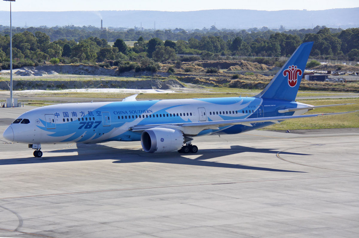 B-2735 Boeing 787-8 Dreamliner (MSN 34928/119) of China Southern, at Perth Airport - Fri 3 April 2015. *First visit to Perth* China Southern started using 787s instead of A330s on Guangzhou-Perth services from 1 April 2015. This is the second China Southern 787 to visit Perth and Australia. Flight CZ320 to Guangzhou is seen taxying out at 8:38am. Photo © Steve Jaksic
