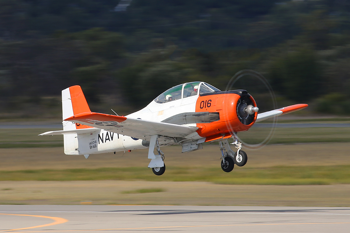 VH-KAN North American Aviation T-28B Trojan (MSN 140016) operated by AOG Services at Jandakot Airport – 3 April 2015.