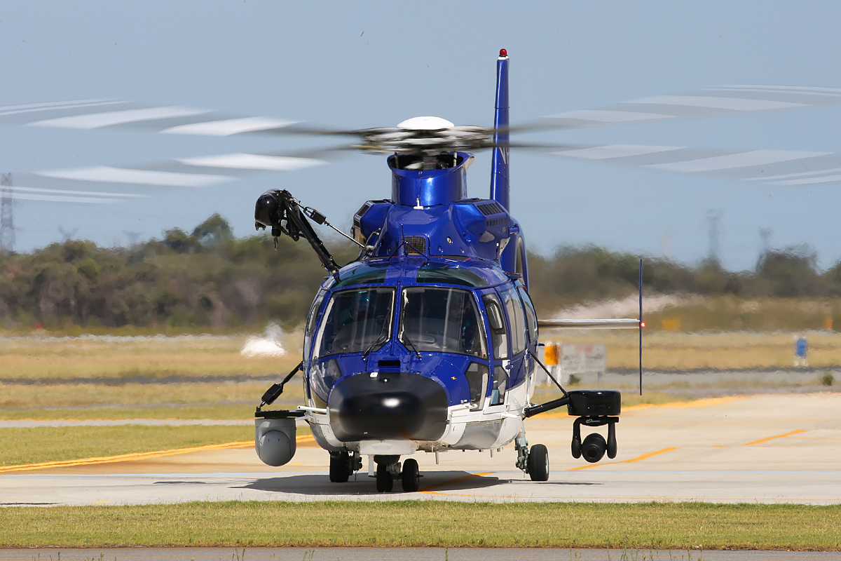VH-WPX Eurocopter AS365N3+ Dauphin 2 (MSN 6936, ex F-WWOX), call sign 'POLAIR62′ of WA Police Air Wing at Jandakot Airport – 3 April 2015.