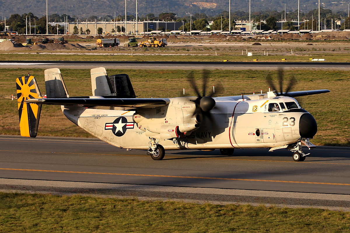 162177 Grumman C-2A Greyhound (MSN 57) of US Navy at Perth Airport - 25 April 2015.