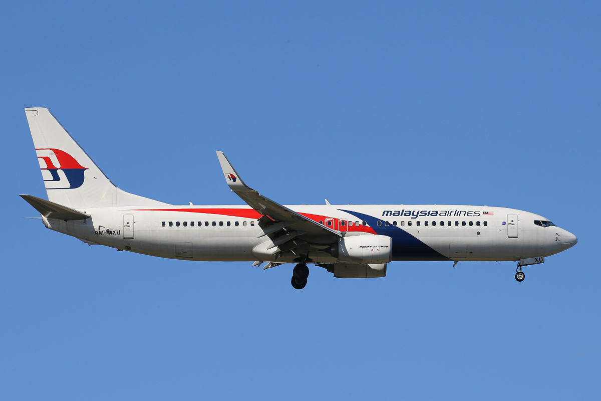 9M-MXU Boeing 737-8H6(W) (MSN 40158) of Malaysia Airlines at Perth Airport – 15 April 2015.