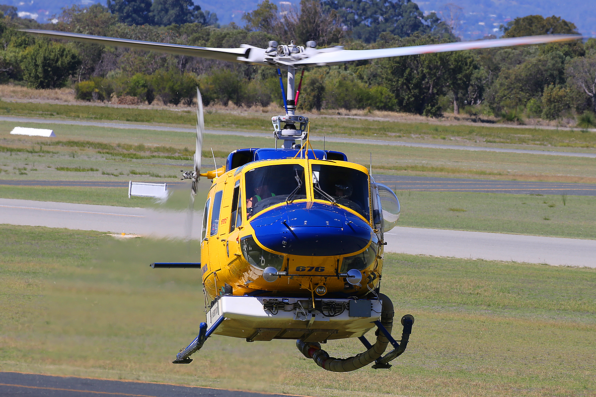 P2-MSA / HELITAC 676 Bell 214B-1 BigLifter (MSN 28065) of McDermott Aviation, operating for the Department of Fire and Emergency Services, at Jandakot Airport – 16 April 2015.