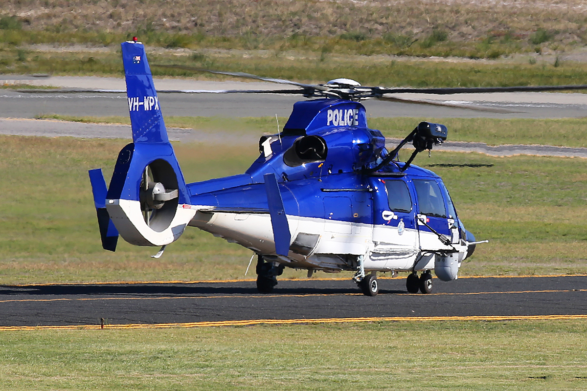 VH-WPX / POLAIR 62 Eurocopter AS365N3+ Dauphin 2 (MSN 6936, ex F-WWOX) of WA Police Air Wing at Jandakot Airport – 16 April 2015.