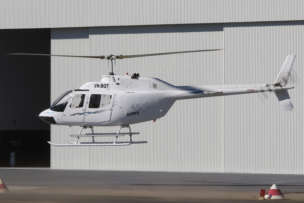 VH-BQT AMT Helicopters OH-58A (MSN AMT-008) of Dunkel Aviation at Jandakot Airport – 22 April 2015.