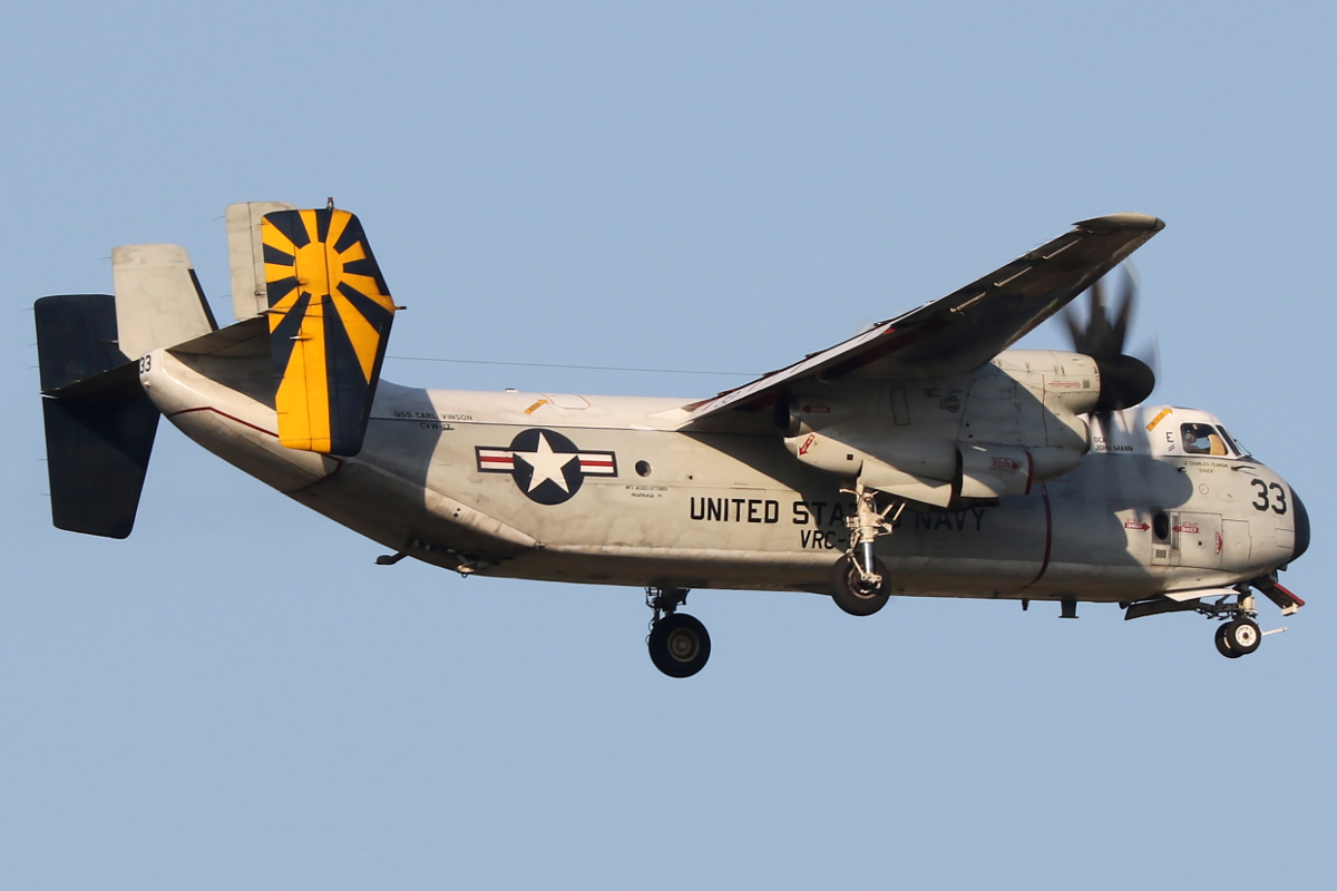 162175 Grumman C-2A Greyhound (MSN 55) of US Navy over Bullsbrook – 23 April 2015.