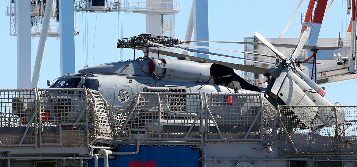 ??????/NA-71? Sikorsky MH-60R Seahawk (MSN ?) of HSM-73 'Battle Cats', aboard USS Bunker Hill (CG-52) at Victoria Quay, Fremantle - Mon 27 April 2015. USS Bunker Hill (CG-52) is a Ticonderoga-class guided missile cruiser. It arrived on 26 April 2015 for a rest and recreation visit before returning home to San Diego, after an eight-month deployment, including six months of combat operations in the Arabian Gulf as part of the aircraft carrier USS Carl Vinson's Strike Group. Photo © Matt Hayes