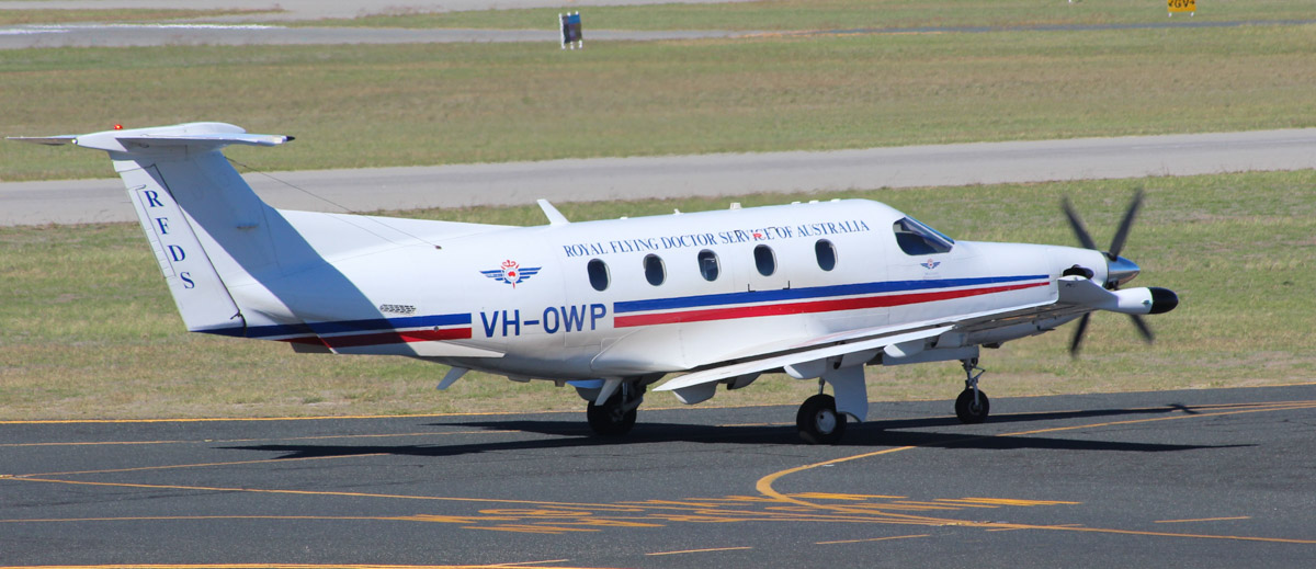 VH-OWP Pilatus PC-12/47E (MSN 1032) owned by Royal Flying Doctor Service (Western Operations) at Jandakot Airport – Mon 27 April 2015. 'FLYDOC 609' departing Jandakot to Meekatharra. Built in 2008, ex HB-FQL. Photo © Geoff Selby