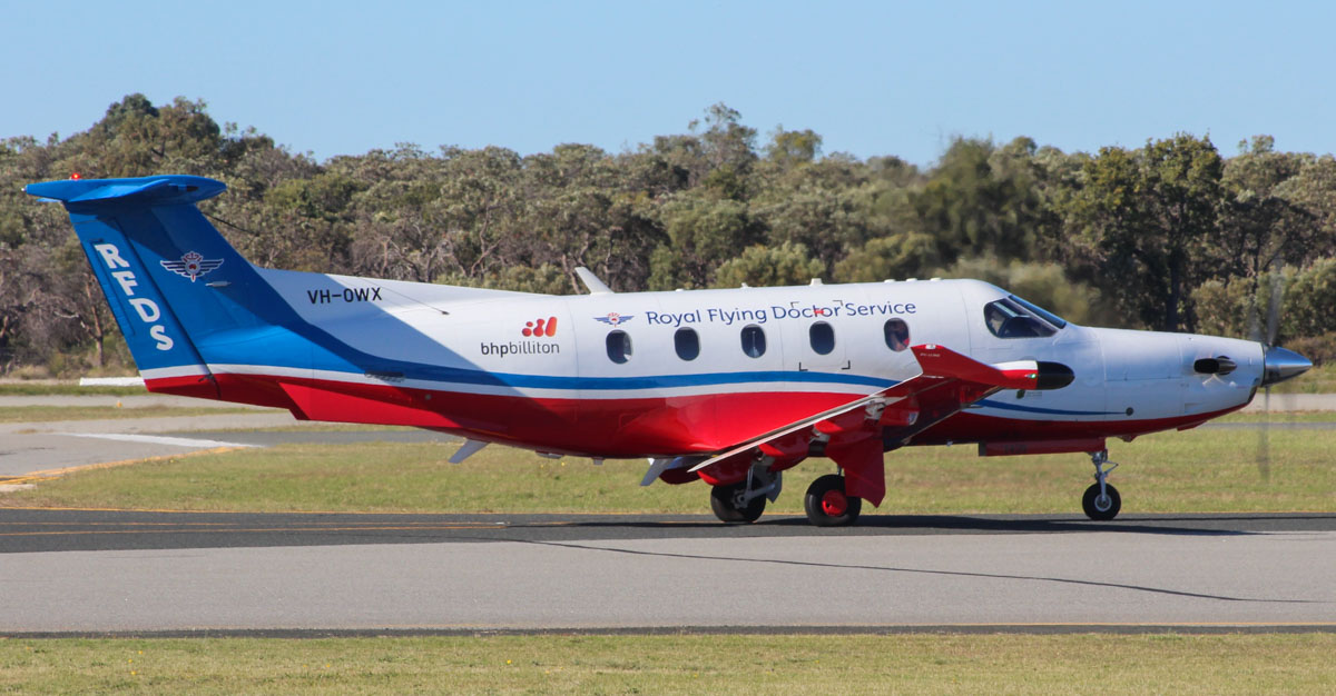 VH-OWX Pilatus PC-12/47E (MSN 1439) of the Royal Flying Doctor Service (Western Operations), at Jandakot Airport - Mon 27 April 2015. Taxying out for departure as 'FLYDOC 618' to Albany at 9:30am. Built in 2013, ex HB-FQM. Photo © Geoff Selby