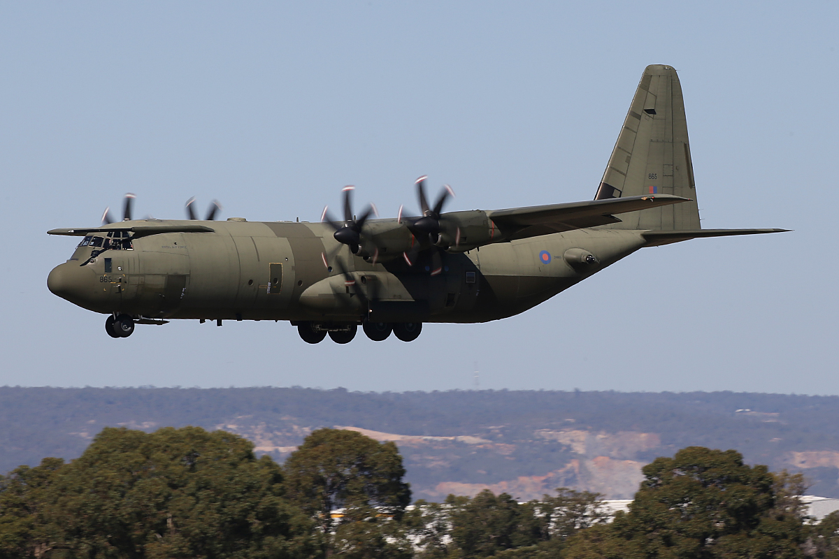 ZH865 Lockheed-Martin C-130J-30 Hercules C4 (MSN 382-5408, ex N130JA) of 24/30/47 Squadron, Royal Air Force, at Perth Airport - Mon 27 April 2015.