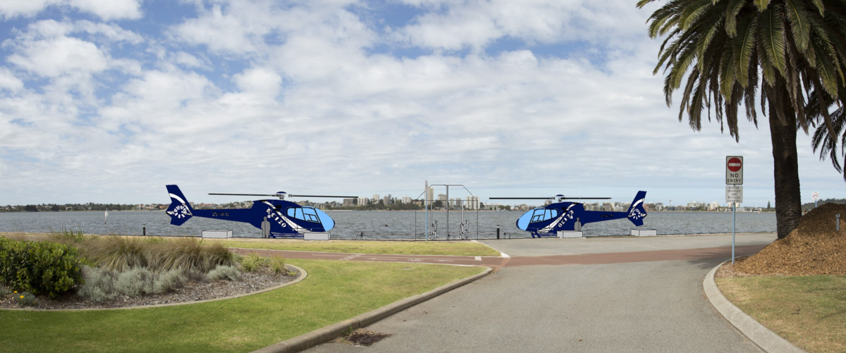 Artist impression of the proposed helipads at the selected location, 200 metres east of WA Rowing Club, on the north side of the Swan River. Image © Building Lines