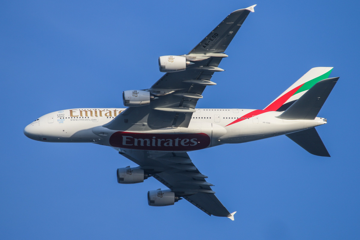 A6-EOD Airbus A380-861 (MSN 168) of Emirates, over the northern suburbs of Perth – Sat 2 May 2015. A6-EOD's first visit to Perth. Flight EK420 from Dubai at 3,000 feet flying northeast on the 9 DME arc at 4.50pm, before joining the approach to Perth Airport's runway 21. Photo © David Eyre