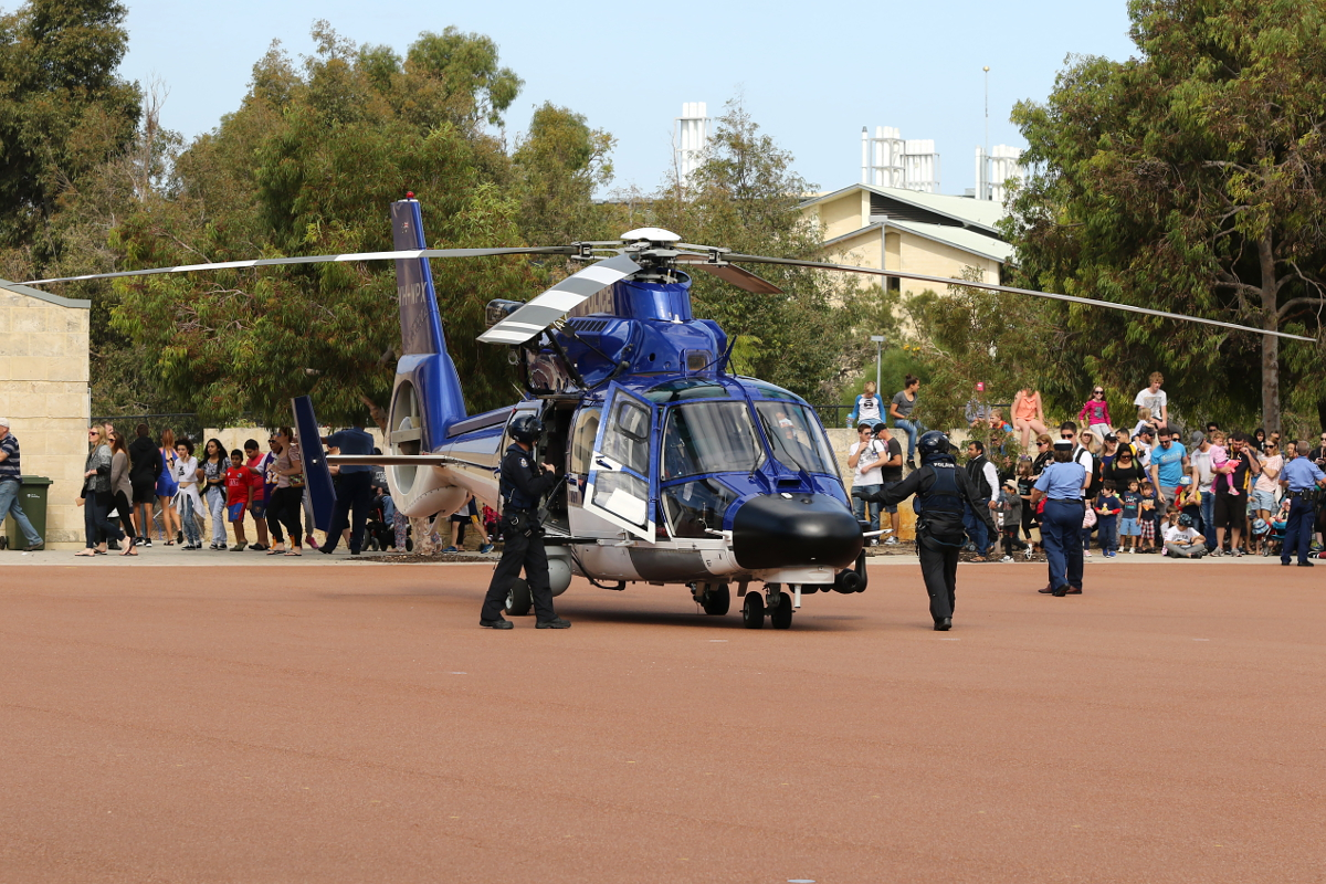 VH-WPX / POLAIR 62 Eurocopter AS365N3+ Dauphin 2 (MSN 6936, ex F-WWOX) of WA Police Air Wing, displaying at the WA Police Academy Expo in Joondalup – 2 May 2015.