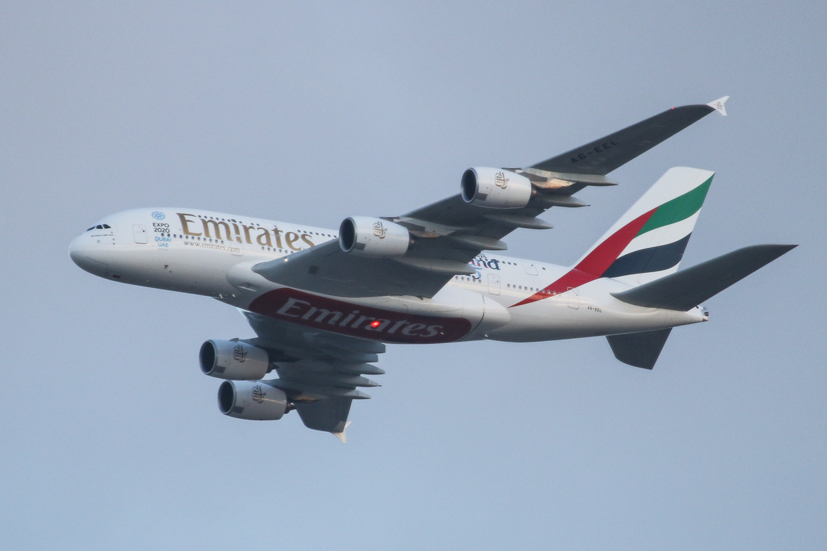 A6-EEL Airbus A380-861 (MSN 133) of Emirates, over the northern suburbs of Perth - Mon 4 May 2015. Wears 'Rugby World Cup 2015 - England 2015' decals on the rear fuselage. Flight EK420 flying northeast on the 9 DME arc at 5:12pm before joining the approach to Perth Airport's runway 21. Photo © David Eyre