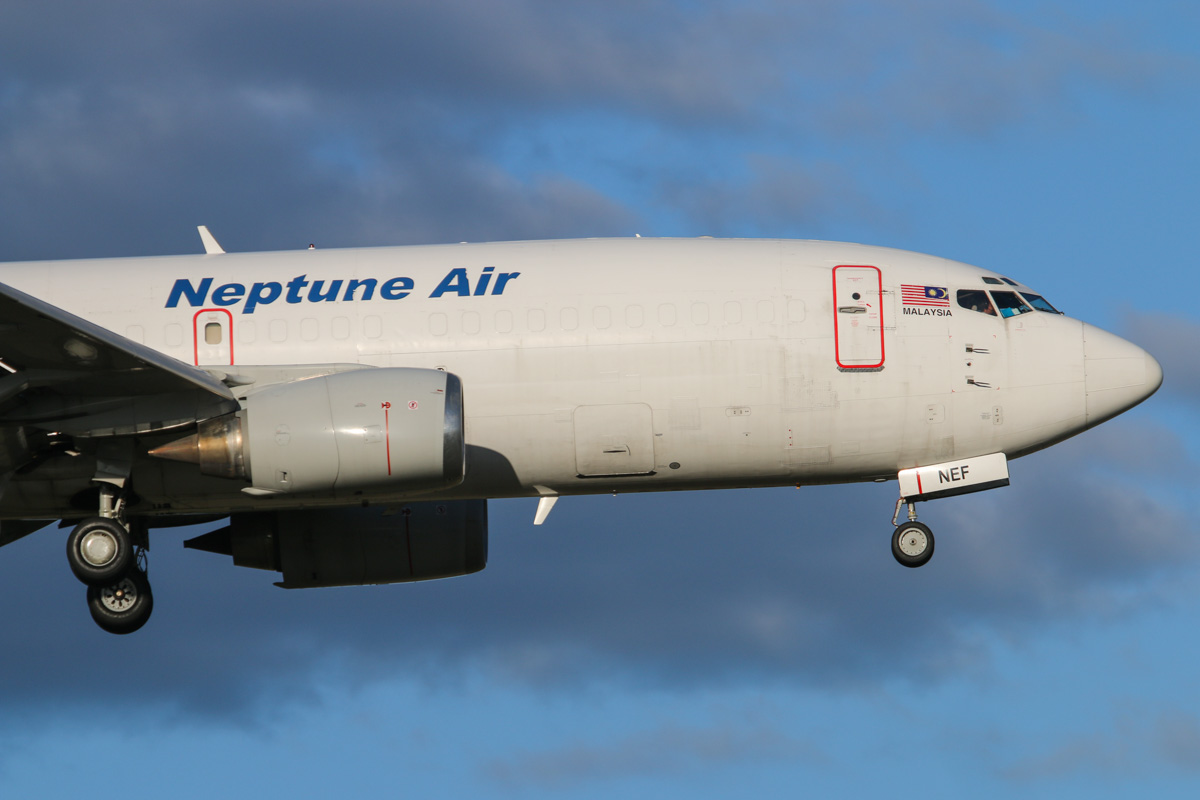 9M-NEF Boeing 737-3S3 (SF) (MSN 23811/1445) of Neptune Air at Perth Airport – Wed 6 May 2015. NEPTUNE 401 from Surabaya, landing on runway 21 at 4:32 pm. It departed back there as NEPTUNE 402 at 7:27pm. Originally delivered to Air Europe in passenger configuration as G-BNPA in 1987, it later became C-FGHQ, G-BNPA, G-DIAR, N841LF, was converted to freighter in 1992, then registered as D-ABWS, N761LF, TF-FIE, N811AN, B-2605, LV-BBZ, N811AN, EC-KDY, N811AN, before becoming 9M-NEF. Photo © David Eyre