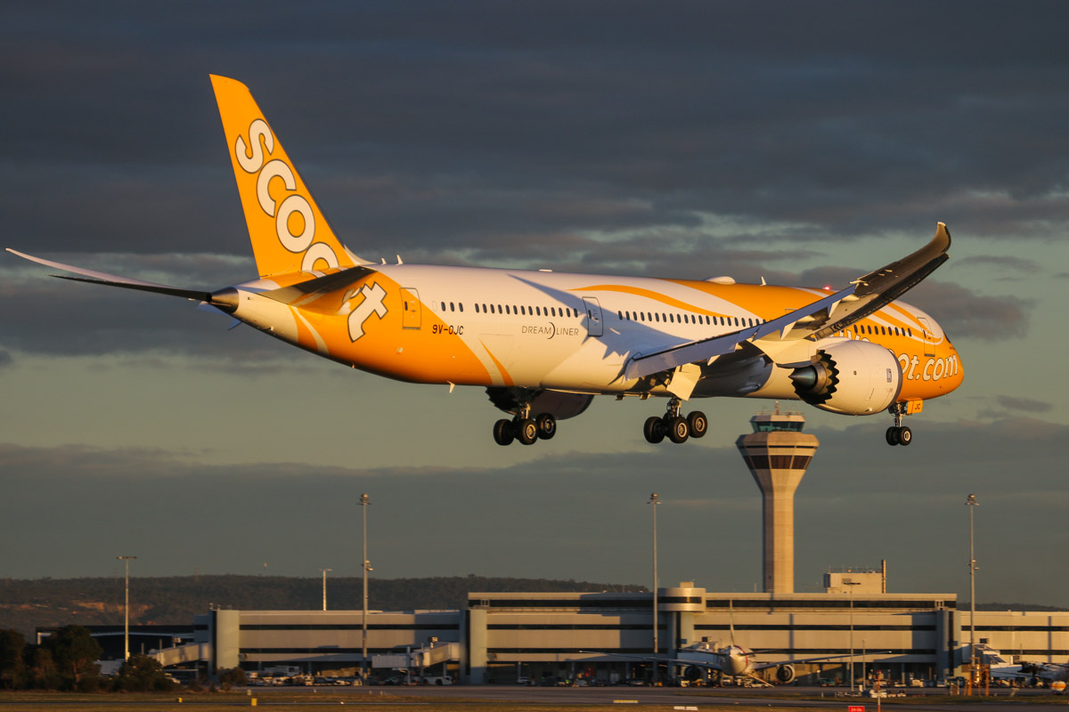 9V-OJC Boeing 787-9 Dreamliner (MSN 37114/284) of Scoot, named 'Inspiring Spirit', at Perth Airport - Wed 6 May 2015. Flight TZ8 from Singapore, landing on runway 21 at 5:14pm with Terminal 1 and the Control Tower behind. This was 9V-OJC's second visit to Perth - it was delivered new to Scoot on 26 April 2015. Photo © David Eyre