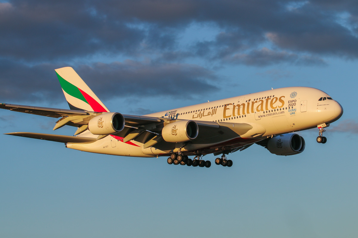 A6-EET Airbus A380-861 (MSN 142) of Emirates, with World Cup 2015 - England 2015' decals on the rear fuselage, at Perth Airport - Wed 6 May 2015. First visit to Perth. Flight EK420 from Dubai, on final approach to runway 21 at 5:11pm. Photo © David Eyre