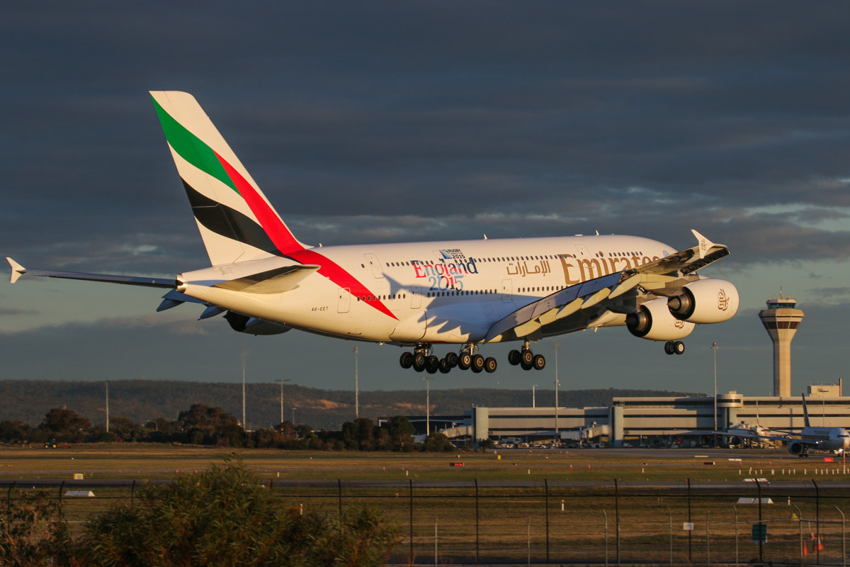 A6-EET Airbus A380-861 (MSN 142) of Emirates, with World Cup 2015 - England 2015' decals on the rear fuselage, at Perth Airport - Wed 6 May 2015. First visit to Perth. Flight EK420 from Dubai, landing on runway 21 at 5:12pm. Photo © David Eyre