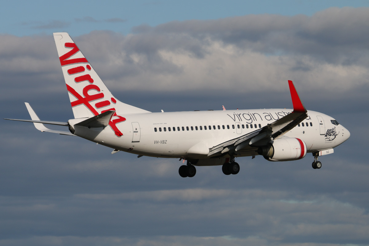 VH-VBZ Boeing 737-7FE (MSN 34322/1777), named 'Cronulla Beach', of Virgin Australia at Perth Airport – Wed 6 May 2015. Flight VA1726 from Karratha, on final approach to runway 21 at 3.40pm. Photo © David Eyre