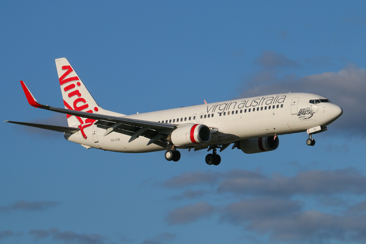 VH-VON Boeing 737-8FE (MSN 33795/1375), named 'Greenmount Point', of Virgin Australia, at Perth Airport - Wed 6 May 2015. Flight VA1436 from Darwin, on final approach to runway 21 at 4:36pm. Photo © David Eyre