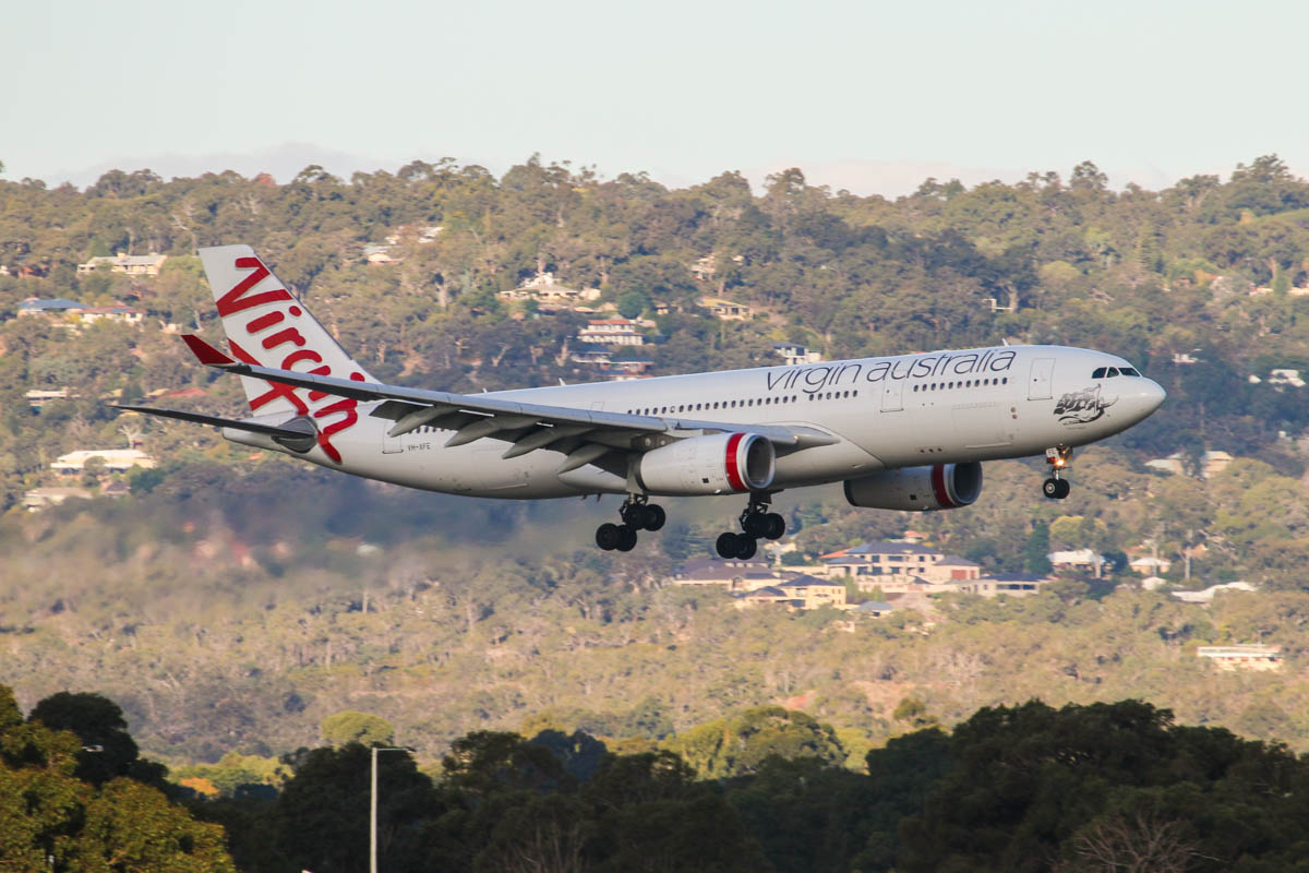 VH-XFE Airbus A330-243 (MSN 1319) of Virgin Australia, named 'Manly Beach', at Perth Airport – Wed 6 May 2015. Flight VA559 from Sydney, landing on runway 24 at 16:17. Photo © David Eyre