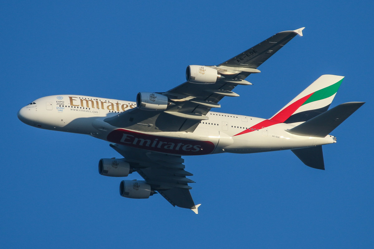 A6-EOE Airbus A380-861 (MSN 169) of Emirates, over the northern suburbs of Perth - Fri 8 May 2015. This same aircraft performed the first scheduled service to Perth by an A380 exactly one week before this photo. Flight EK420 from Dubai is seen here flying northeast along the 9 DME arc before joining the approach to Perth Airport's runway 21 at 5:03pm. Photo © David Eyre