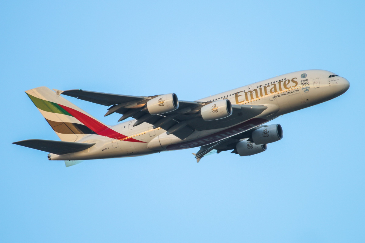 A6-EEJ Airbus A380-861 (MSN 127) of Emirates over the Swan Valley, Perth - Sat 9 May 2015. The first high density configured A380 to visit Perth. Flight EK420 from Dubai, turning onto the approach for runway 21 at 5:06 pm. Photo © David Eyre