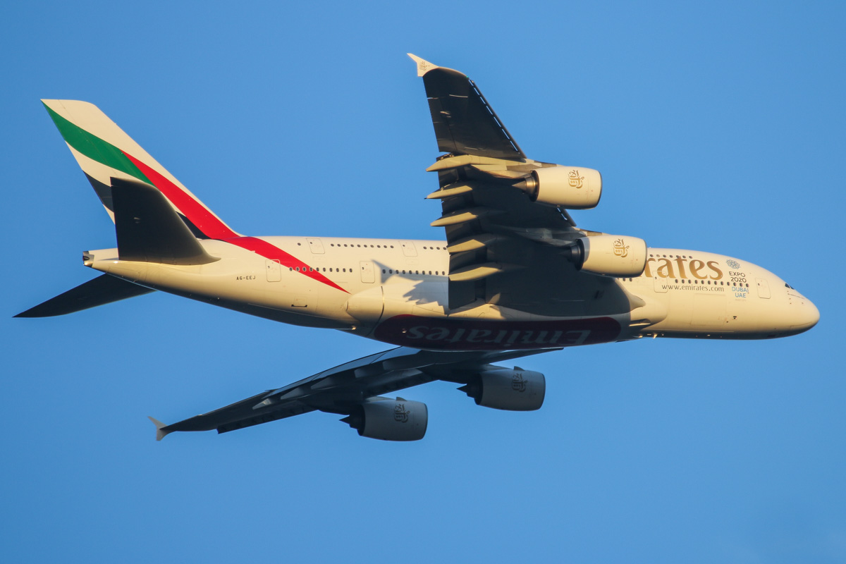 A6-EEJ Airbus A380-861 (MSN 127) of Emirates over the Swan Valley, Perth - Sat 9 May 2015. The first high density configured A380 to visit Perth. Flight EK420 from Dubai, on the approach for runway 21 at 5:06 pm. Photo © David Eyre