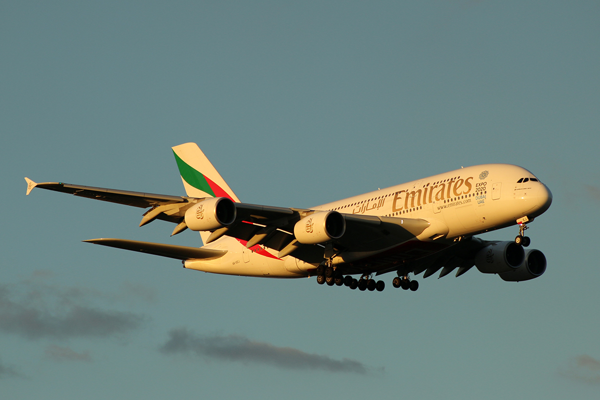 A6-EEJ Airbus A380-861 (MSN 127) of Emirates at Perth airport – 9 May 2015.