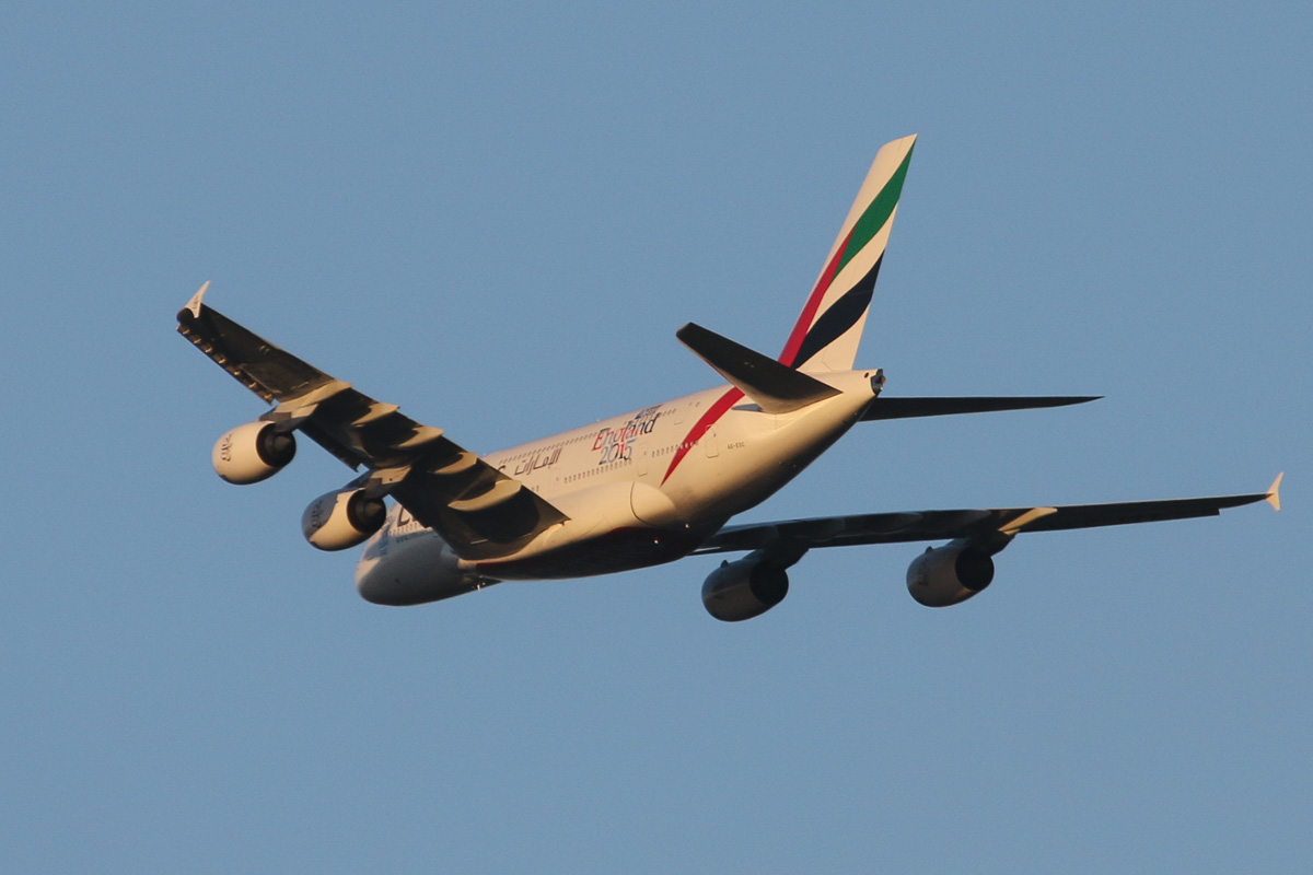 A6-EOC Airbus A380-861 (MSN 165) of Emirates, with 'Rugby World Cup 2015 - England 2015' decals, over the northern suburbs of Perth - Mon 11 May 2015. Flight EK420 from Dubai heading northeast along the 9 DME arc at 5.06pm, to join the approach to Perth Airport's runway 21. Photo © David Eyre