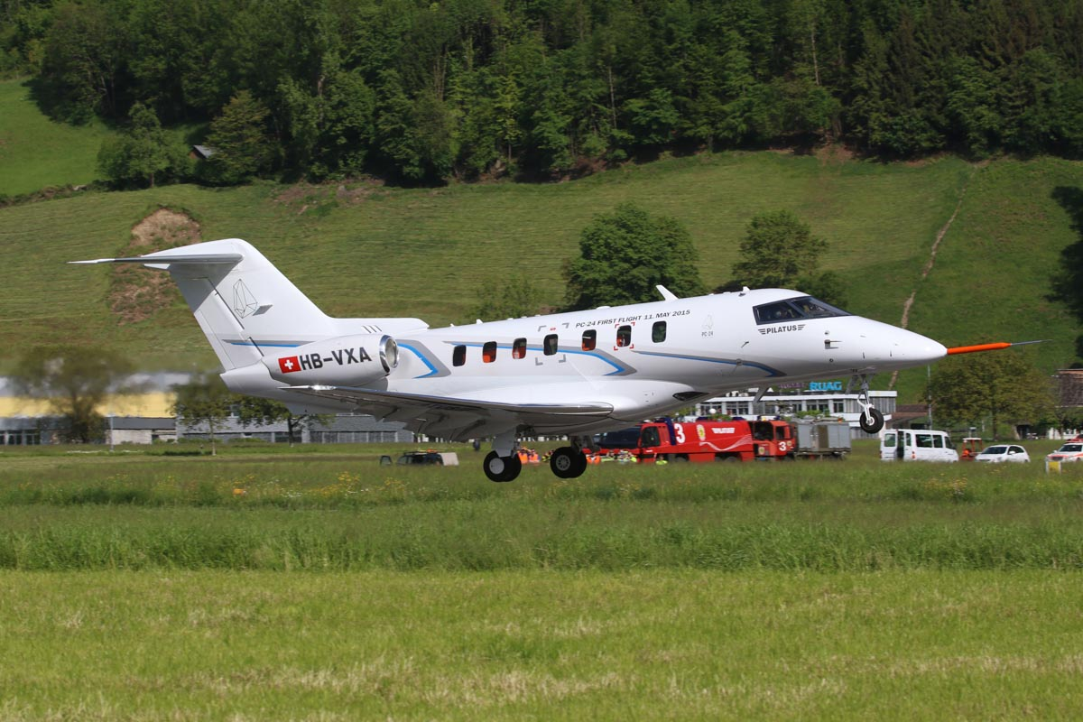 HB-VXA Pilatus PC-24 prototype (MSN P01) taking off on its first flight at Buochs Airport, Stans, Switzerland - Mon 11 May 2015. Photo © Pilatus