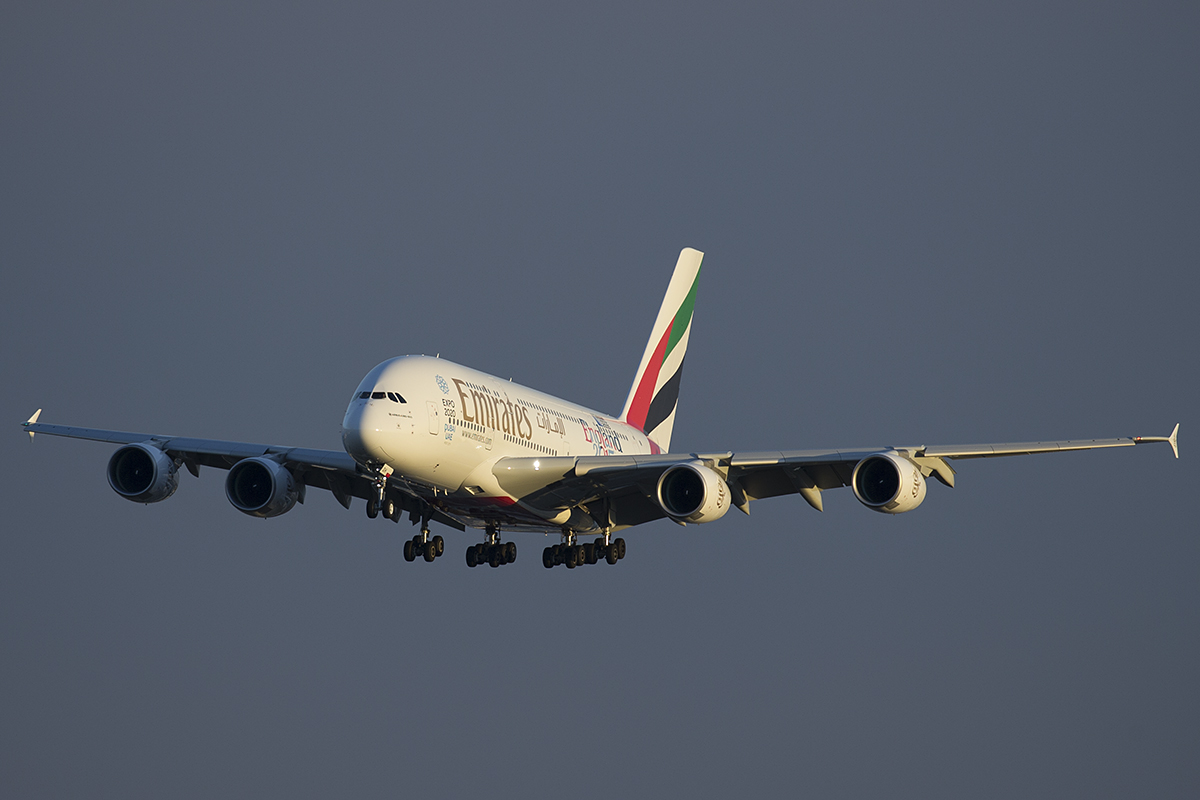 A6-EOH Airbus A380-861 (MSN 174) of Emirates at Perth Airport – 12 May 2015.