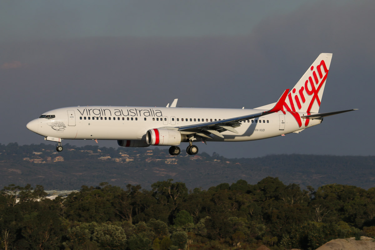 VH-VUD Boeing 737-8FE (MSN 34015/1594) of Virgin Australia, named 'Tallows Beach', at Perth Airport - Tue 12 May 2015. Flight VA1436 from Darwin, landing on runway 03 at 4.41pm. This aircraft was registered ZK-PBG and operated between the Eastern States and New Zealand until March 2015, when it returned to its former registration, VH-VUD. Photo © David Eyre