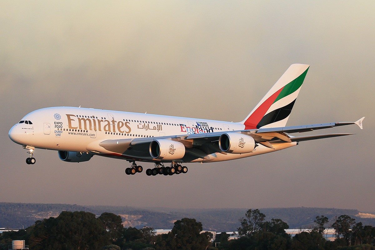 A6-EOF Airbus A380-861 (MSN 171) of Emirates at Perth Airport – 13 May 2015.