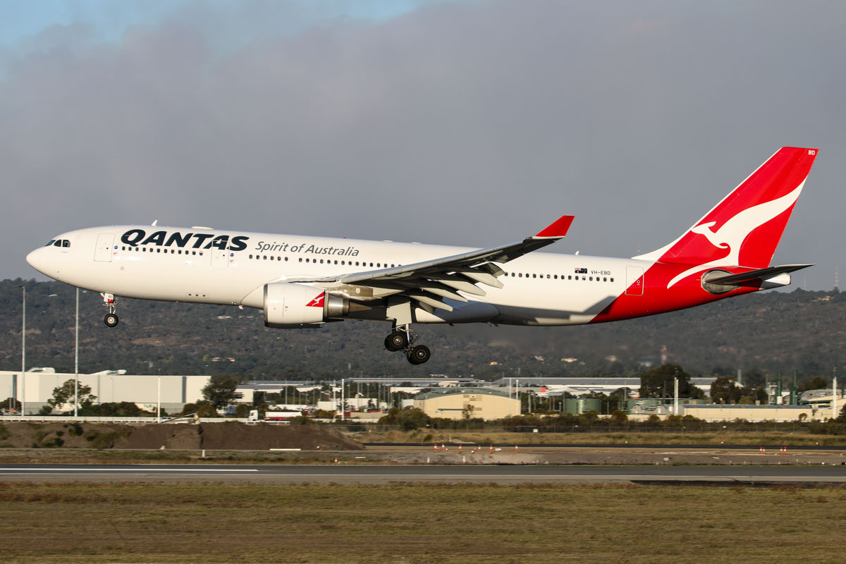 VH-EBD Airbus A330-202 (MSN 513) of Qantas, named 'Traralgon', at Perth Airport - Wed 13 May 2015. Flight QF777 from Melbourne, landing on runway 03 at 4:34pm. This aircraft was recently returned from a lease to Jetstar. Photo © David Eyre