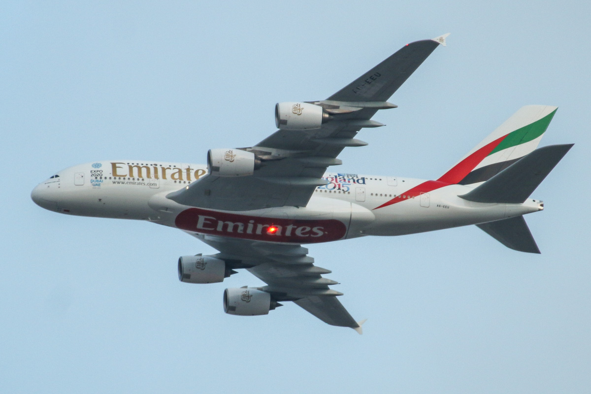 A6-EEU Airbus A-380-861 (MSN 147) of Emirates, with 'Rugby World Cup 2015 - England 2015' decals on the rear fuselage, over the northern suburbs of Perth – Tue 19 May 2015. Second visit to Perth by A6-EEU. The first visit was on 2 July 2014 for a medical emergency diversion. Flight EK420 from Dubai is seen here at 5:15pm, flying northeast along the 9 DME arc, before joining the approach to Perth Airport's runway 21. Photo © David Eyre