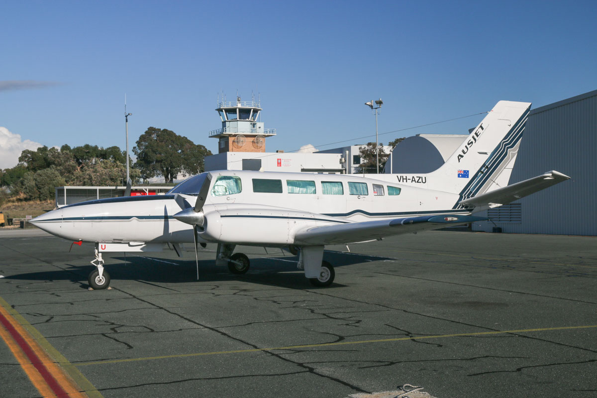 VH-AZU Cessna 404 Titan (MSN 404-0803) of Australasian Jet Pty Ltd/AusJet Aviation Group, at Jandakot Airport – Sat 23 May 2015. This photo survey aircraft was formerly owned by Fugro Spatial Solutions. Built in 1981, ex N6765J. Photo © David Eyre